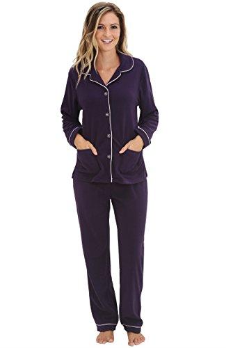 Del Rossa Women's Two Piece Button Up Fleece Pajama Set, Small ...