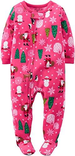 carters baby girls 1 piece fleece christmas pjs 18 months pink