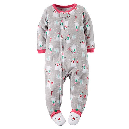 carter s baby girls 1 piece fleece christmas pjs 24 months grey