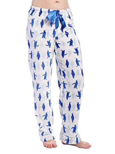 Women S Coral Fleece Plush Lounge Pants Penguin Mania