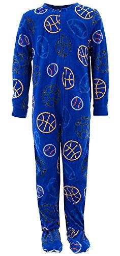 Komar Kids Big Boys Blue Sports Balls Footed Pajamas L 10