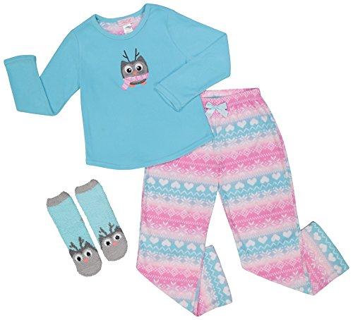710488f855a Girls Plush Micro Fleece Long Sleeve Lounge Pajama Sleepwear Gift Set  W Socks