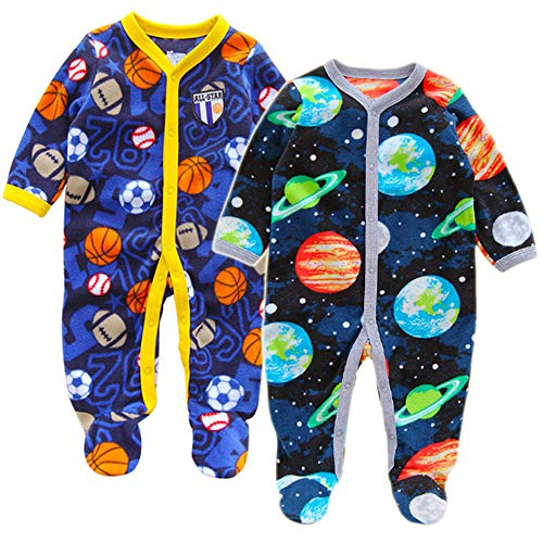 91d616390 Aablexema Baby Boys 2-Pack Fleece Footed Pajamas
