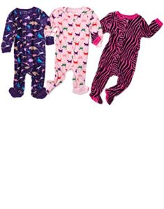 Leveret Fleece Baby Girls Footed Pajamas Sleeper Kids   Toddler Pajamas (3  Months-5 Toddler) For fire safety 6e8b403c7